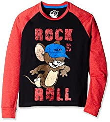 Tom & Jerry Boys T-Shirt (TJ1DLT481_Black and Red Melange_7 - 8 years)