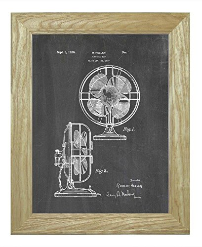 """Design For An Electric Fan Patent Art Chalkboard Print In A Natural Raw Wood Frame (8.5"""" X 11"""")"""