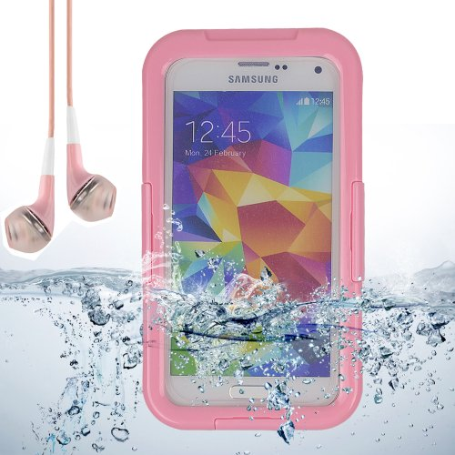 Diving Dry Box Water Resistant Waterproof Case Cover For Samsung Galaxy S5 Sv + Vangoddy Headphones With Mic (Pink)