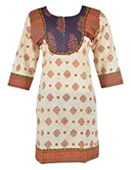 Diya's Women's Cotton Regular Fit Kurti (DY62_Large, Off White & Brown, Large)