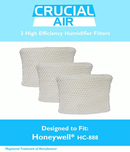3 Honeywell HC-888 & Duracraft D88 Humidifier Filter Fits DCM-200, DH-888, DH-890, DH-890C, DCM-891B, DCM-891S (AC-888),HCM-890, HCM-890B, HCM-890C, HCM-890-20 (AC-888), HCM-890-MTG & S35E-A, Designed & Engineered by Crucial Air (Humidifier Filter D88 compare prices)