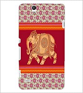 PrintDhaba Elephant D-5799 Back Case Cover for SONY XPERIA C4 (Multi-Coloured)