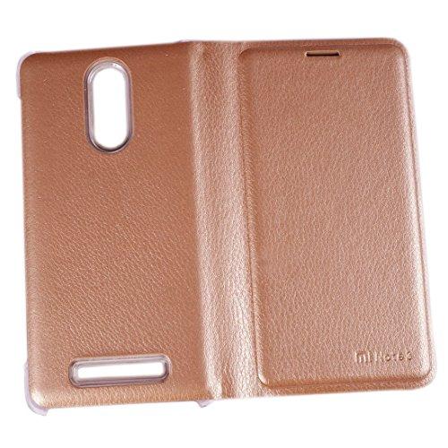 2dots Business Class Premium Faux Leather Flip Case Cover for Xiaomi Redmi Note3 Golden