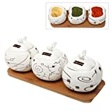 Artistic Ceramic Spice Condiment Serving Jars / Pots & Spoons (Set of 3) on Bamboo Wood Stand - MyGift®
