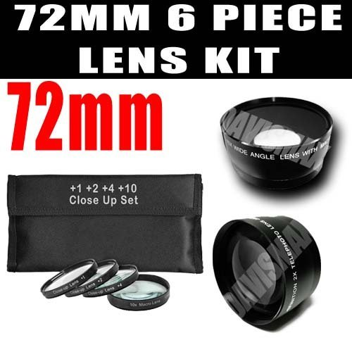 Dm Optics 72Mm +1 +2 +4 +10 Close-Up Macro Filter Set With Pouch + Wide Angle Lens / Telephoto Lens For The Canon 135Mm, 15-85Mm, 180Mm, 18-200Mm, 200Mm, 20Mm, 28-135Mm, 35Mm, 45Mm, 50Mm, 85Mm For Any Of These Canon Eos T1I, T2I, T3I, T3, Xs, Xsi, Xt, Xti