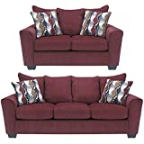 Flash Furniture Benchcraft Brogain Living Room Set in Chenille, Burgundy