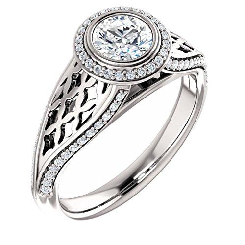 Platinum Round Cut Diamond Engagement Ring - 0.8 Ct.