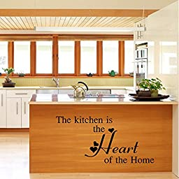 LayaStore DIY Wall Quote Decor Art Decal Sticker Removable - Kitchen is The Heart of The Home (Model:410)