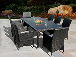 Genuine Ohana Outdoor Patio Wicker Furniture 9pc All Weather Dining Set With Free Patio Cover by Ohana