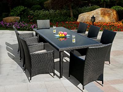 Sale Genuine Ohana Outdoor Patio Wicker Furniture 9pc All Weather Dining Set