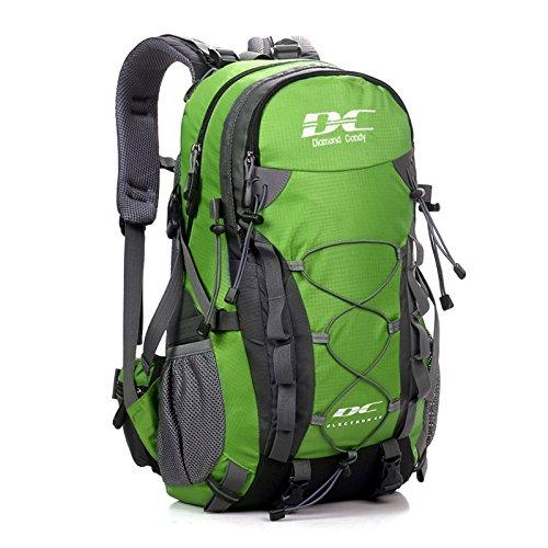 Diamond Candy Zaino da Trekking Outdoor Donna e Uomo con Protezione Impermeabile per alpinismo arrampicata equitazione ad Alta Capacità borsa da viaggio,Multifunzione, 40 litri Verde + Una copertura di zaino