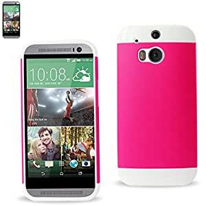 Reiko TPU+PC PROTECTOR COVER HTC ONE M8 - Retail Packaging - White Hot Pink