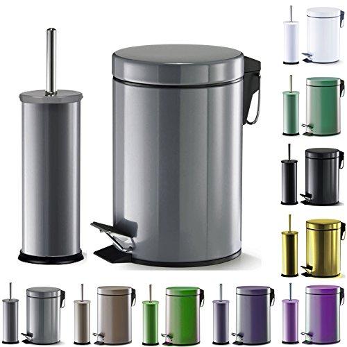 WOLTU-WC-Garnitur-Set-Treteimer-WC-Brste-Toilettenbrste-Toilettengarnitur-Kosmetikeimer-Bad-Grau-ME4707gr