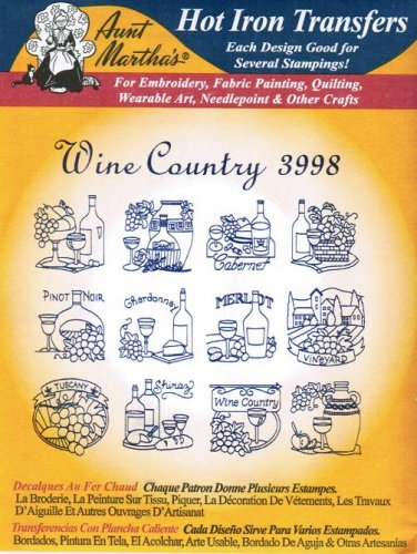 Wine Country Aunt Martha's Hot Iron Embroidery Transfer