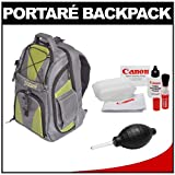 Portare' Multi-Use Laptop/iPad/Digital SLR Camera Backpack Case (Gray/Green) with Cleaning Kit for Canon EOS 7D, 5D Mark II III, 60D, Rebel T3, T3i, T2i Digital SLR Cameras
