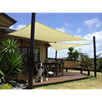 Square Tan,18 by 18 ft Sun Sail Shade Cover