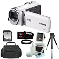 "Samsung HMX-F90 5MP 1280x720 30p HD Camcorder in White + 16GB Secure Digital Memory Card + Deluxe SLR Soft Photo & Video Medium Case w/ Shoulder Strap & 2 Dividers + Memory Card Wallet + 5 Piece Cleaning Kit + Vivitar 9"" Table Tripod Black + Micro Fiber C"