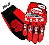 Typhoon Youth Kids Motocross Motorcycle Offroad BMX MX ATV Dirt Bike Gloves - Red - Small