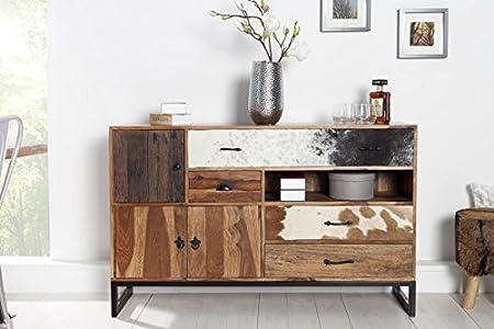 Dunord Design de registro de Texas 140 cm de madera maciza de Sheesham y de la piel de la piel