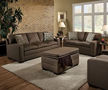 Simmons Upholstery 6515-03 Velocity Shitake Sofa