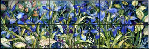 Blue Iris by Kathleen Parr McKenna - Kitchen Backsplash / Bathroom wall Tile Mural
