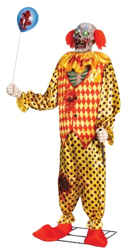 [CREEPY ZOMBIE CLOWN LIFESIZE ANIMATED PROP 6FT Halloween Animatronic w/ Sounds MR-124218] (Halloween Animatronics)