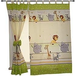 2er Set Gardinen Kinderzimmer Vorhänge mit Schlaufen und Schleifen 155x95 cm Dekoschal Schlaufenschal , Farbe: Imagine Grün, Größe: ca. 155x95 cm