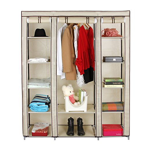 songmics xxl armoire de rangement penderie dressing en tissu intiss 175 x 150 x 45 cm beige. Black Bedroom Furniture Sets. Home Design Ideas