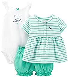 Carter\'s Baby Girls\' 3 Piece Striped Romper Set (Baby) - Teal - Newborn