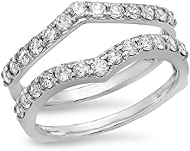 095 Carat ctw 14K Gold Round White Diamond Ladies Anniversary Wedding Enhancer Guard Double Ring 1 C