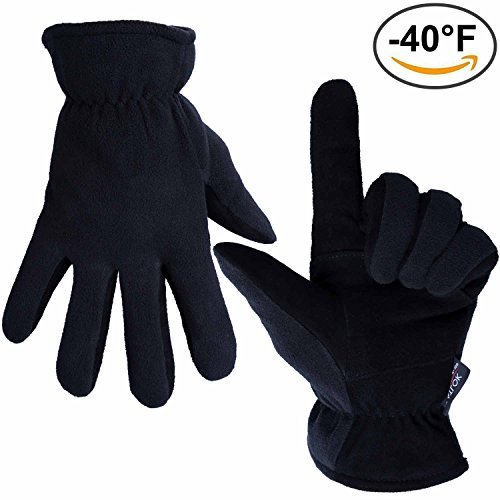 Winter Gloves, OZERO -40°F Cold Proof Thermal Glove - Genuine Deerskin Suede Leather Palm and Polar Fleece Back with Heatlok Insulated Cotton Layer - Keep Warm in Cold Weather - Black (Large) (Light To Wear On Your Head compare prices)