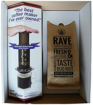 Aerobie AeroPress Coffee Maker & 250 g Rave Coffee Signature Blend Ground Coffee Gift Box from Aerobie  & Rave Coffee