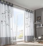 Hee Grand Ein Stueck Print Blumen Gardine Raffgardinen Vorhang mit 2 Farben und 4 Groessen 140*245cm Grau