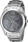 Seiko Solar Grey Dial Black Rubber Strap Mens Watch SNE273