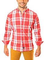 TIME OF BOCHA Camisa Hombre Lino (Rojo / Blanco)