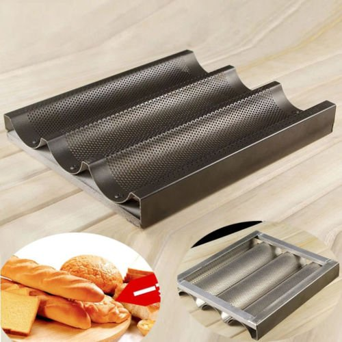 Farmunion Black Non Stick Baguette Mold New French Bread Pan Bake Tray 3 Loaf Bakery Pan (French Baguette Pan compare prices)