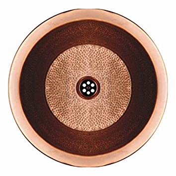 Whitehaus WHCOLV175D-HBRZ Copperhaus 16 1/2-Inch Round Drop-In/Undermount Basin with a Hammered Texture, Hammered Bronze