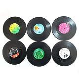 Agile-shop 6PCS Vinyl Record Cup Drinks Holder Mat Tableware Placemat