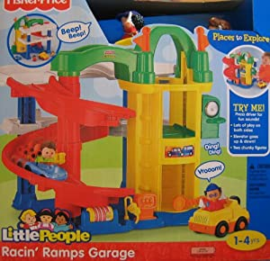 Little people racin 39 ramps garage w 3 story - Fisher price little people racin ramps garage ...