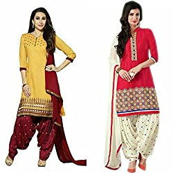 Maxthon Fashion Women's Printed Unstitched Regular Wear Salwar Suit Dress Material (Combo pack of 2)(Max_Combo_7080)(Max_3047_Yellow)(Max_3032_Red)