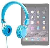 DURAGADGET Auriculares Azules Para Apple iPad Air 2 ( Wi-Fi, Wi-Fi + Cellular ) - Ajustables Y Acolchados - Alta Calidad