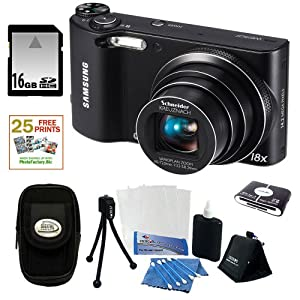 Samsung WB150 14.2MP WI-Fi Digital Camera with 18x Optical Zoom and 3-inch LCD in Black + 16GB Memory Card + Camera Case + Accessory Kit