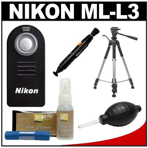 Nikon ML-L3 Wireless Infrared Shutter Remote Control + Tripod + Nikon Cleaning Kit for SLR D7000, D5100, D5000, D3000, D90, D40, 1 V1, J1 & Coolpix P7100, P7000 Digital camera