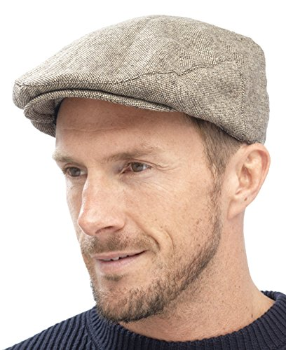Tom Franks Mens Traditional Flat Cap Brown L/XL