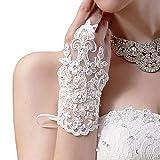 TOOPOOT(TM) Bride Wedding Party Dress Fingerless Rhinestone Lace Satin Bridal Gloves