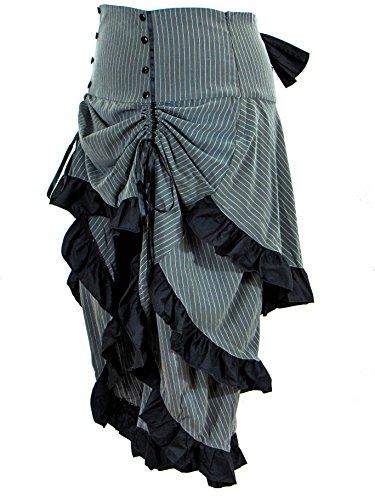 Plus-Size-Gothic-Steampunk-Grey-Black-Pinstripe-3-Tiered-Ruffle-Tail-Skirt