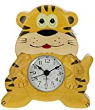 Tiger Clock : Handcrafted Wooden Gift Idea : On/off alarm switch on reverse : Top Safari Jungle Nature Wildlife Zoo Hand Painted Gifts for Boys, Girls, Kids, Children & Fun Loving Adults! : 1 Train, 1 Bird & 7 Animal Designs Available : Height approx 12cm