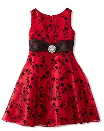 Rare Editions Big Girls' Flocked Organza Dress, Red/Black, 8