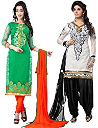 The Fashion World Combo of White & Green Chanderi Embroidery Worked Dress Material
