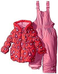 Pink Platinum Baby Girls\' Big Floral Print Snowsuit, Tomato, 12 Months